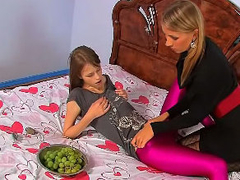 Two beautiful lesbo babyhood strip increased by enjoy large strapon