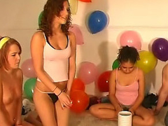 Marvelous girls and guys have dilettante comical party