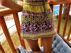 I don't know anything that could be compared approximately staring at cute playful legal age teenager chicks exposing some of most intimate, sweetest spots of their bodies or having nice sex approximately their boyfriends! This time is not the exception and now I recommend you to see the cutie posing all round her light sundress on balcony.
