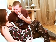Hunk is delighting sweet legal age teenager in nylons with wild spooning