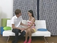 Sweet legal age teenager rides a dick on a white couch