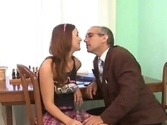 Aged teacher is subduing youthful hottie's wild beaver